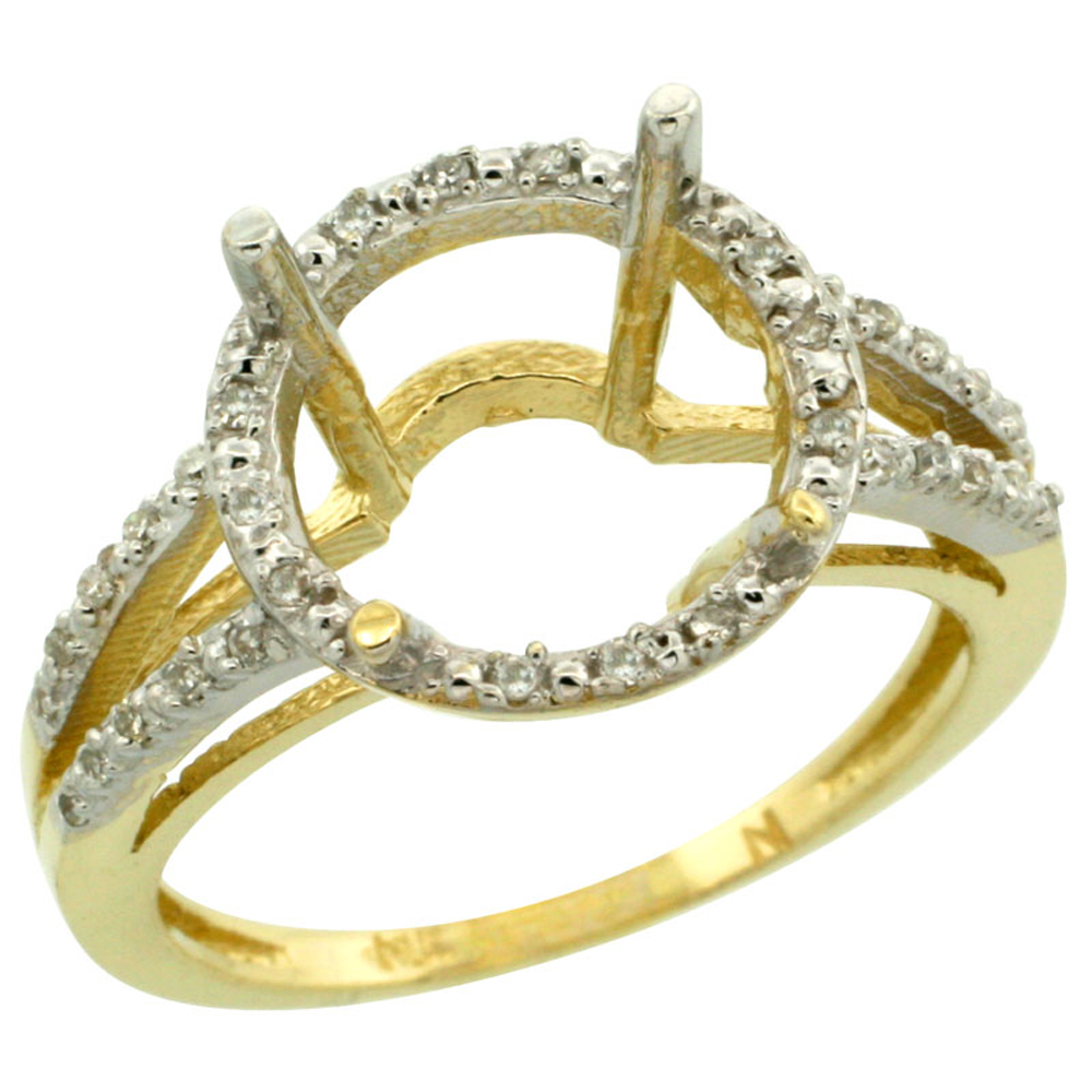 10k Yellow Gold Semi-Mount Ring ( 11 mm ) Large Round Stone & 0.15 ct Diamond Accent, sizes 5 - 10