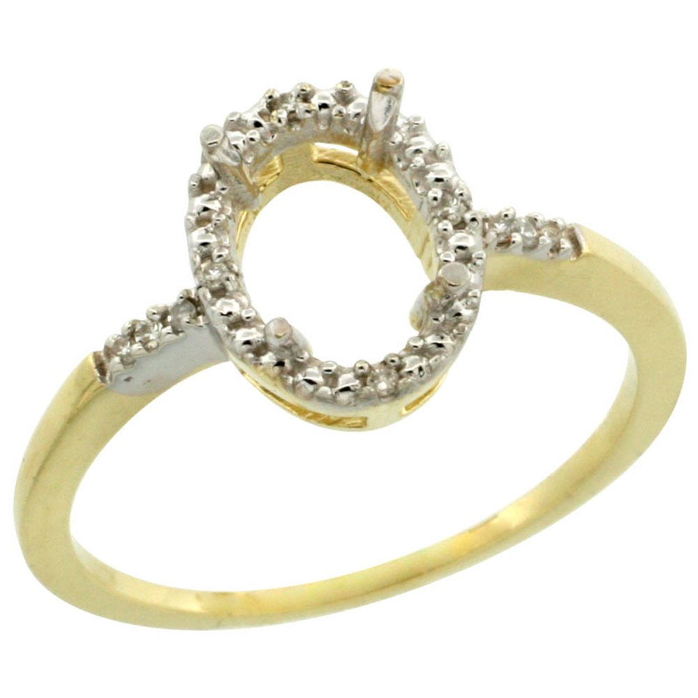 10k Yellow Gold Semi-Mount Ring ( 8x6 mm ) Oval Stone & 0.06 ct Diamond Accent, sizes 5 - 10