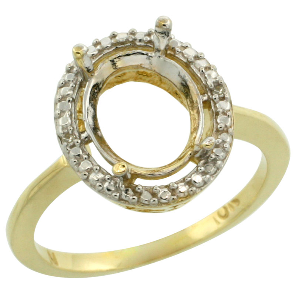 10k Yellow Gold Semi-Mount Ring ( 10x8 mm ) Oval Stone & 0.13 ct Diamond Accent, sizes 5 - 10