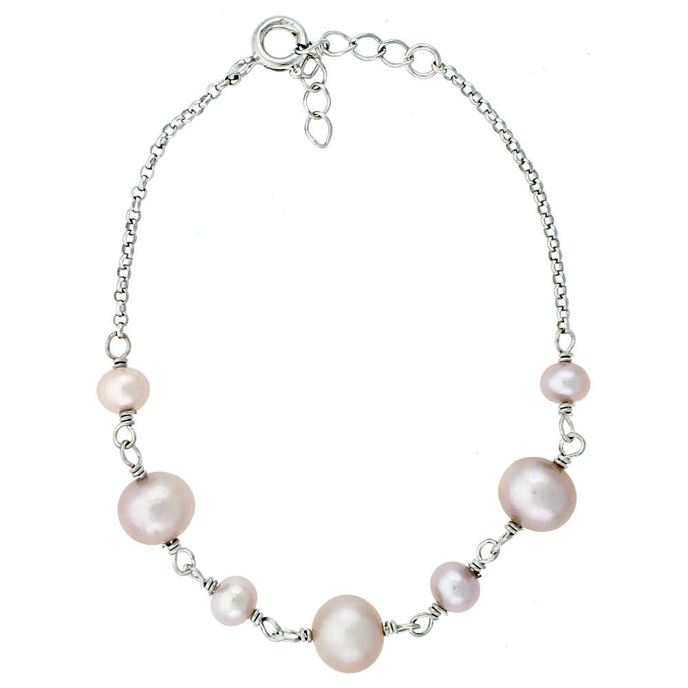 Sterling Silver Pearl Bracelet 7.5mm Freshwater, 6.5 inch long + 1 in. Extension