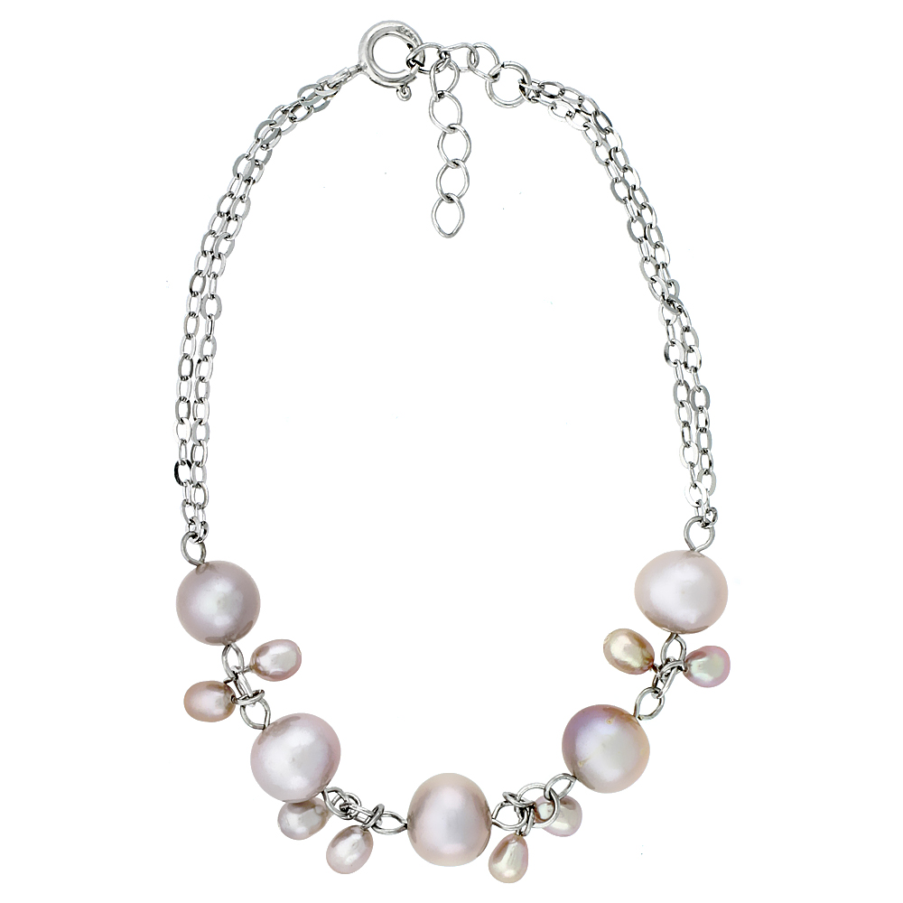 Sterling Silver Pearl Bracelet 7 mm and 5.5 mm Freshwater, 7 inch long + 1 in. Extension