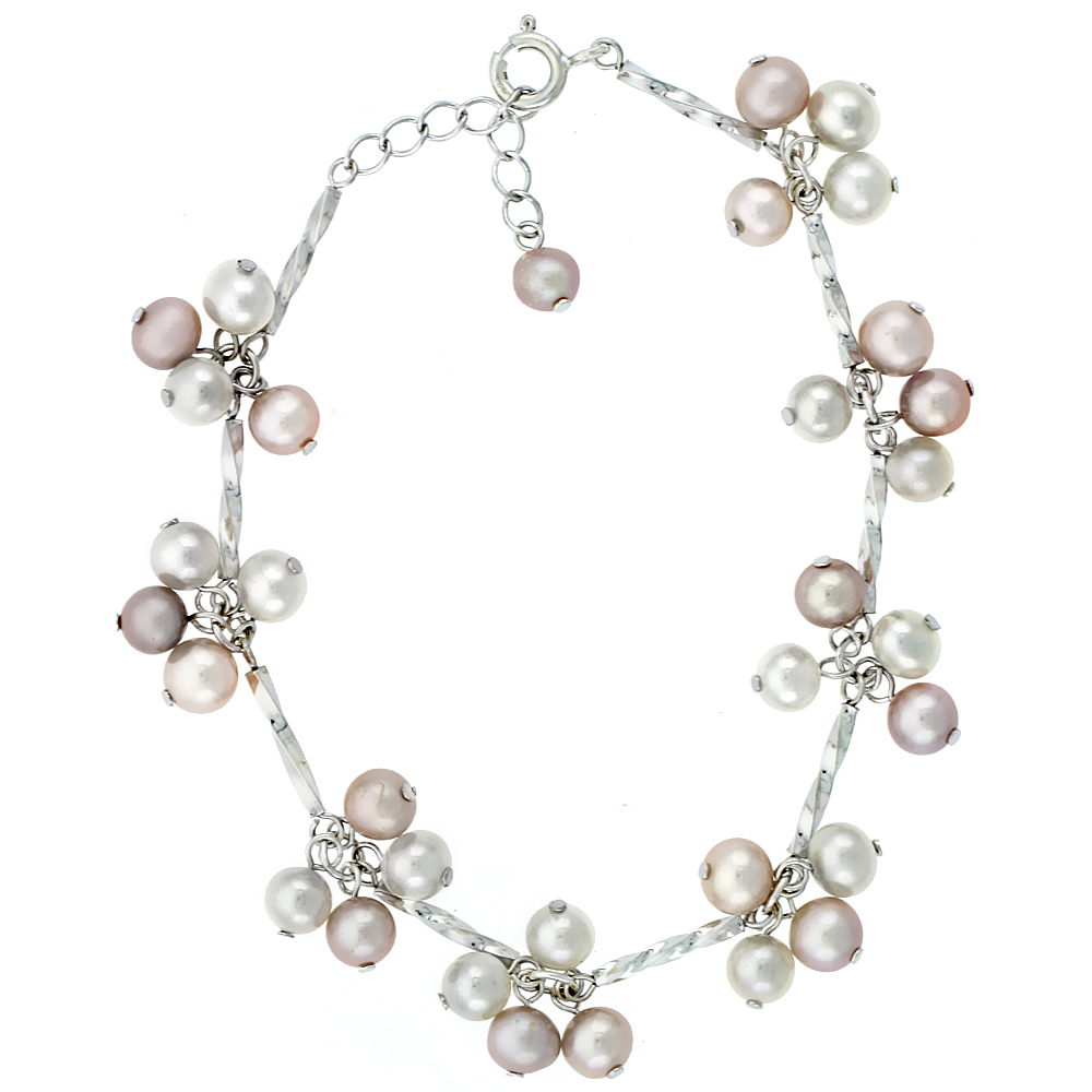 Sterling Silver Pearl Bracelet 5.5 mm Freshwater, 7 inch + 1.5 in. Extension