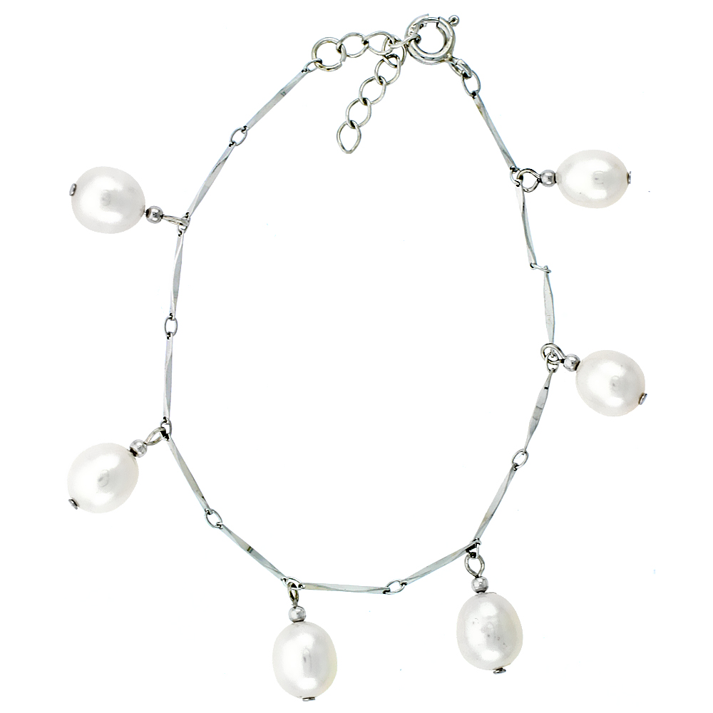 Sterling Silver Pearl Bracelet 8.5 mm Freshwater, 6.5 inch long + 1 in. Extension