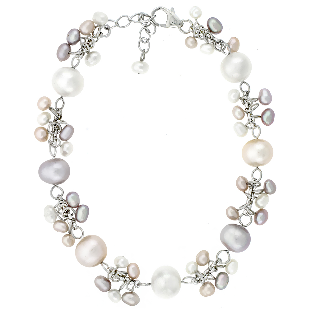 Sterling Silver Pearl Bracelet 8 and 4 mm Freshwater, 7 inch long + 1 in. Extension