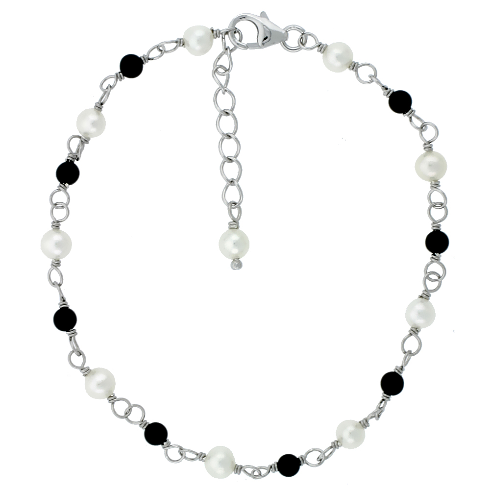 Sterling Silver Pearl Bracelet 4 mm Freshwater and 3 mm Onyx Beads, 7 inch + 1 in. Extension