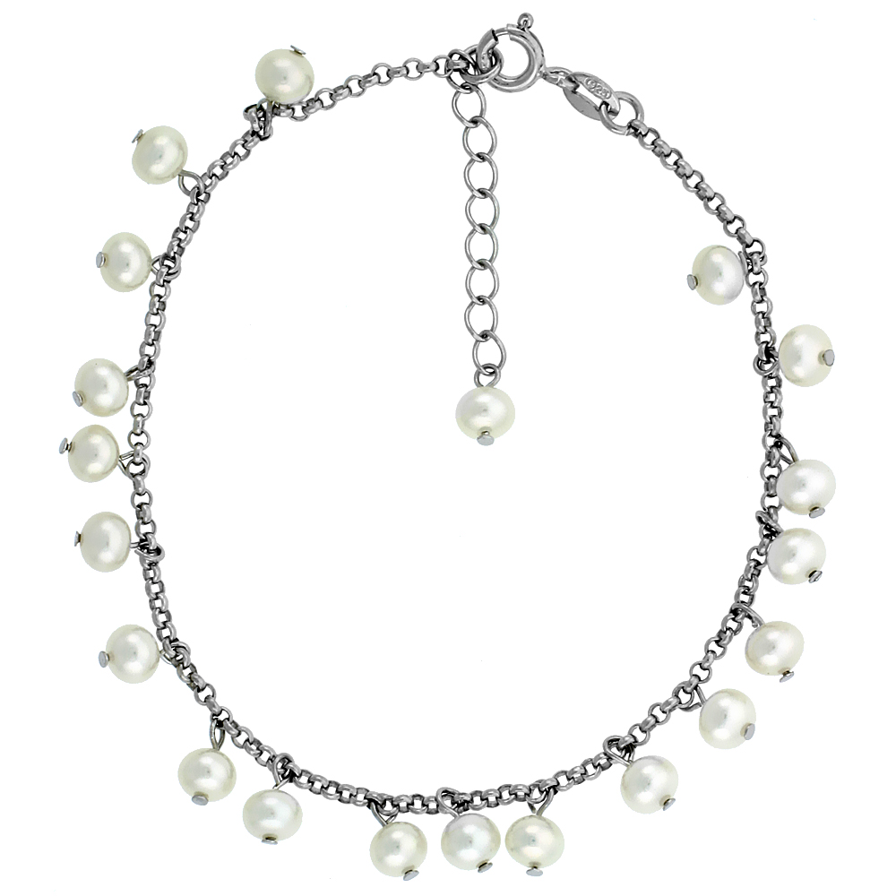 Sterling Silver Pearl Bracelet 5 mm Freshwater, 7.5 inch + 1 in. Extension