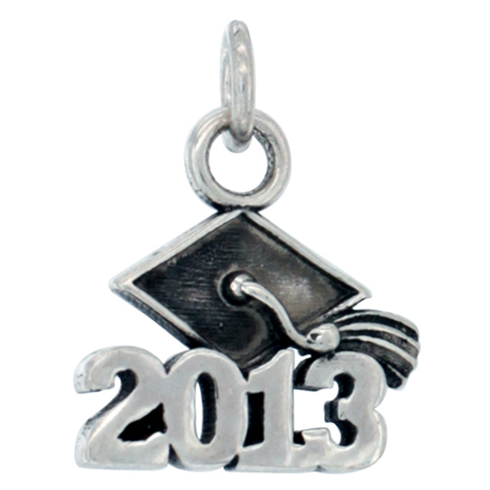 Sterling Silver 2013 Graduation Charm Pendant, 5/8 inch long