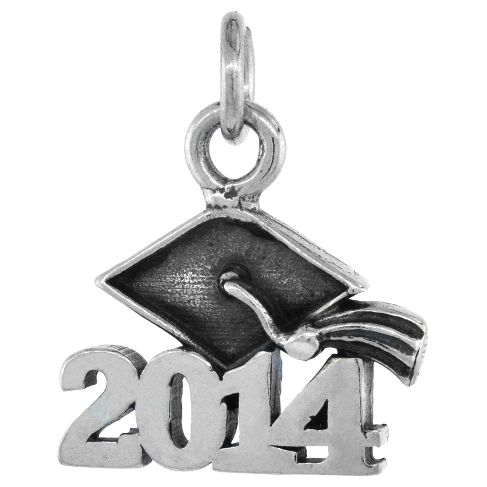 Sterling Silver 2014 Graduation Charm Pendant, 5/8 inch long