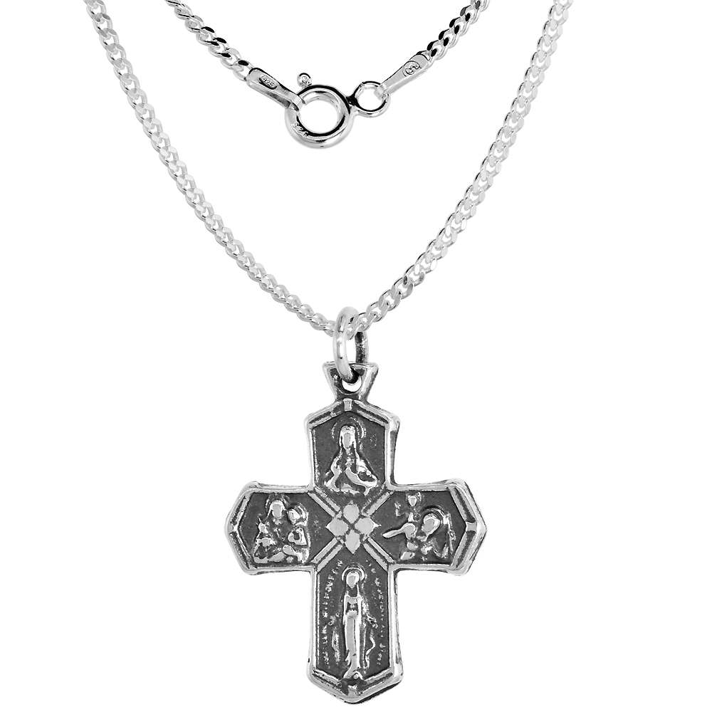 Sterling Silver 4 Way Cross Medal Necklace Antique Finish 1 inch with Chain