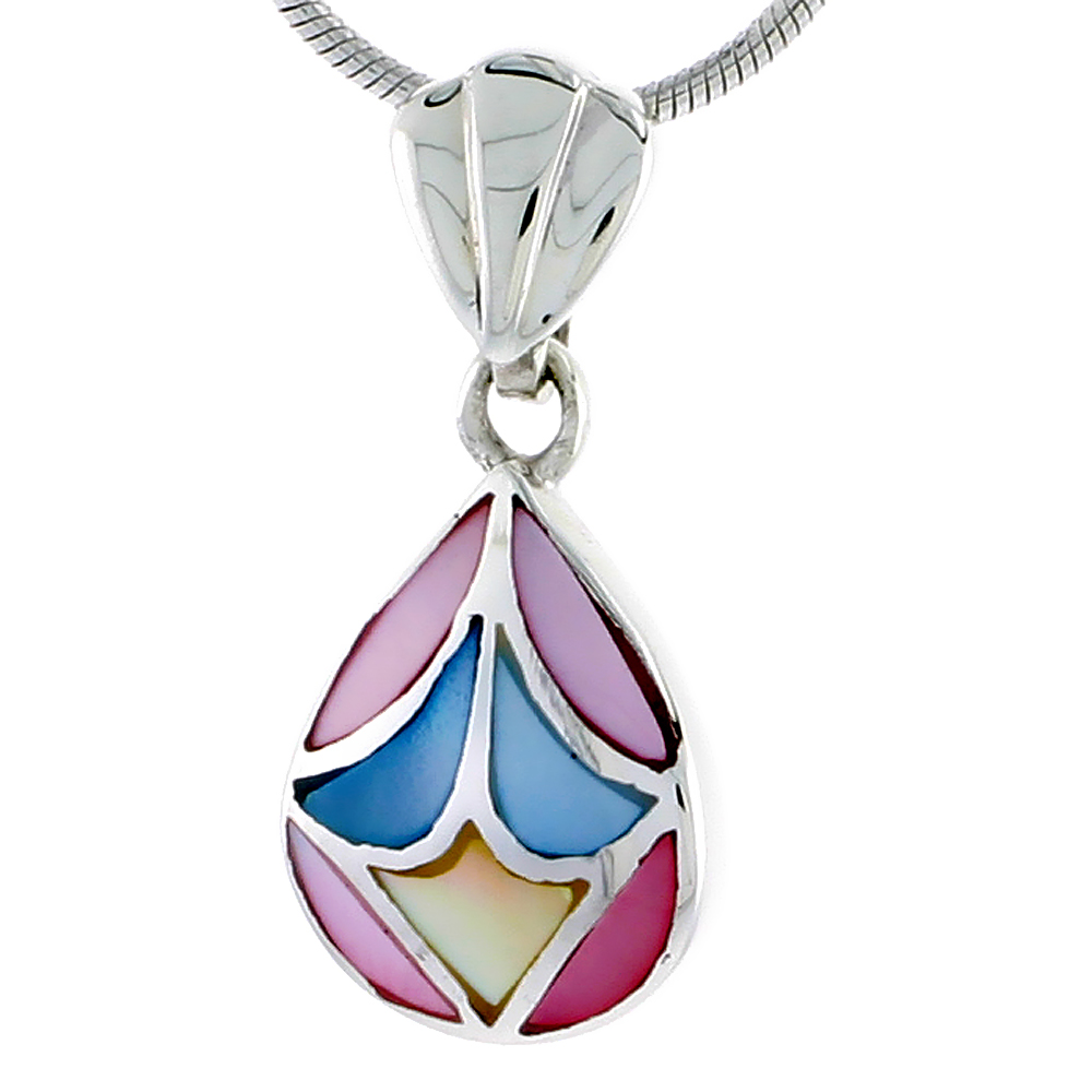"Sterling Silver Pear-shaped Pink, Blue & Light Yellow Mother of Pearl Inlay Pendant, 9/16"" (14 mm) tall"