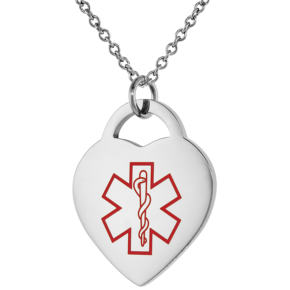 Surgical Steel Medical Alert Drug Allergy Necklace Heart Shape 7/8 Inch Wide, 24 Inch Long