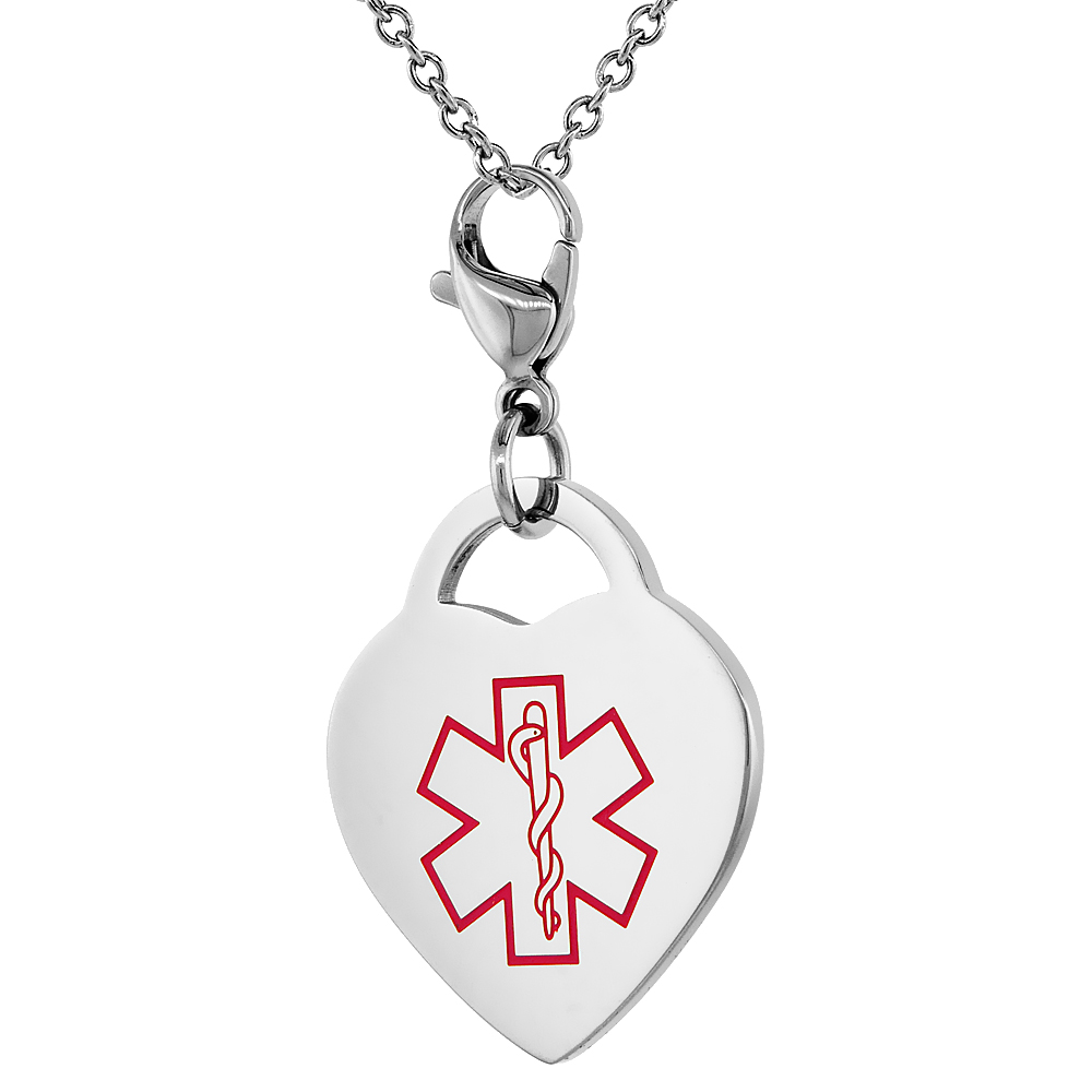 Surgical Steel Medical Alert Blood Thinner Charm / Pendant Heart Shape 7/8 Inch