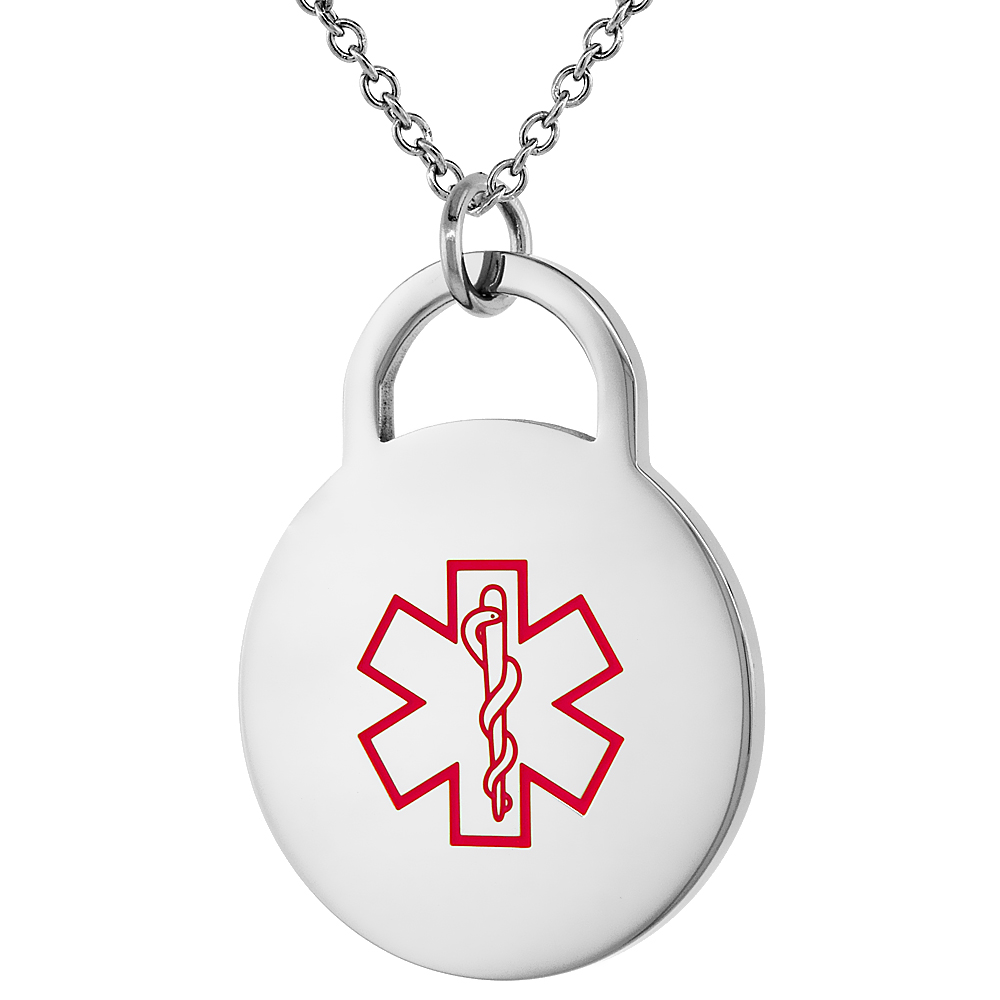Surgical Steel Medical Alert Alzheimers Necklace 1 Inch Round, 24 Inch Long