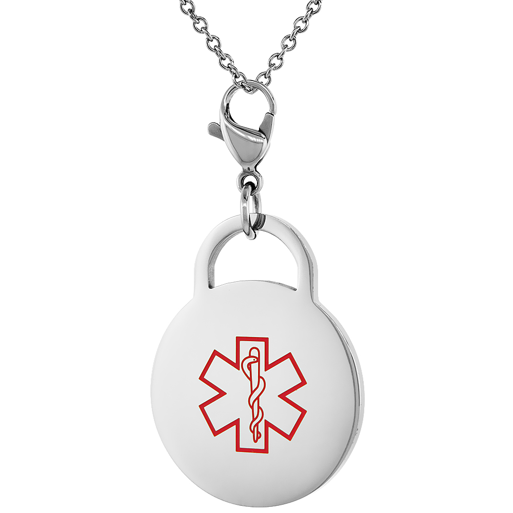 Surgical Steel Medical Alert Blood Thinner Charm / Pendant Bracelet 1 Inch Round