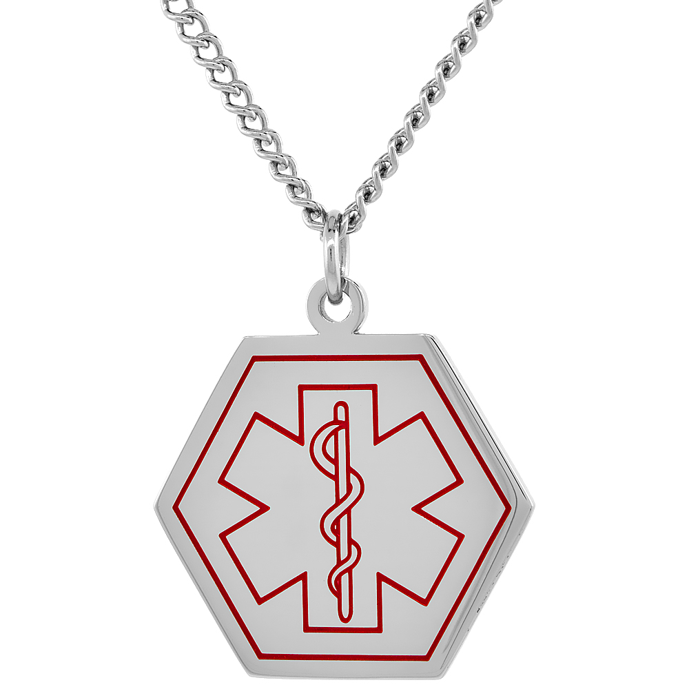 Surgical Steel Medical Alert Necklace for Type 1 Diabetic Hexagon Shape ID 1 inch wide, 30 inch