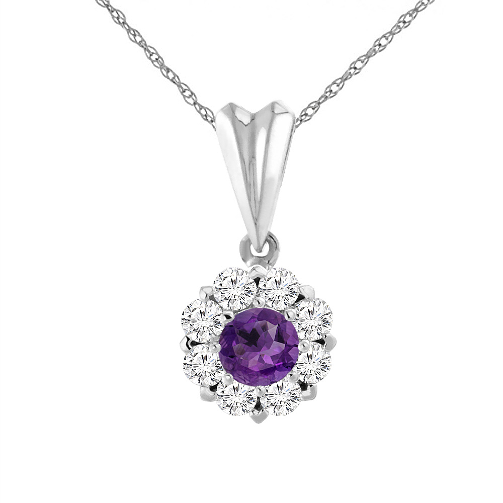 14K White Gold Natural Amethyst Necklace with Diamond Halo Round 6 mm