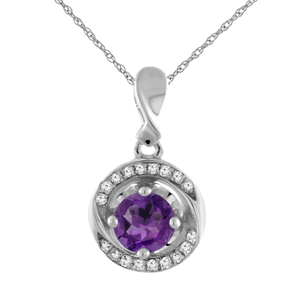 14K White Gold Natural Amethyst Necklace with Diamond Accents Round 4 mm