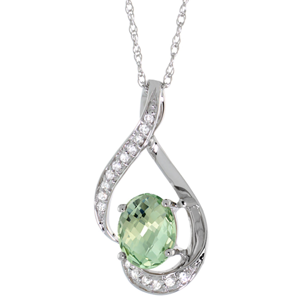14K White Gold Diamond Natural Green Amethyst Necklace Oval 7x5 mm, 18 inch long