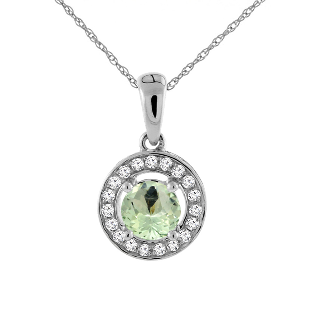 14K White Gold Natural Green Amethyst Necklace with Diamond Halo Round 5 mm