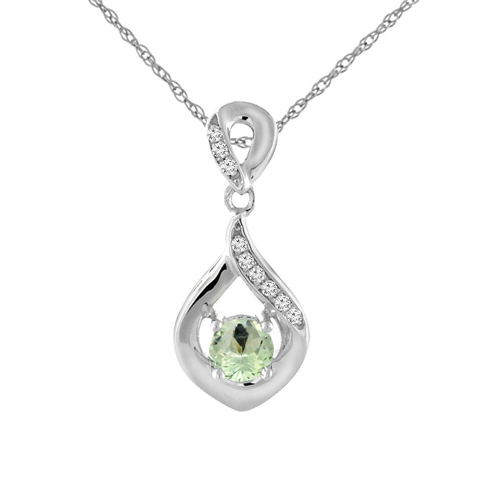 14K White Gold Natural Green Amethyst Necklace with Diamond Accents Round 4 mm