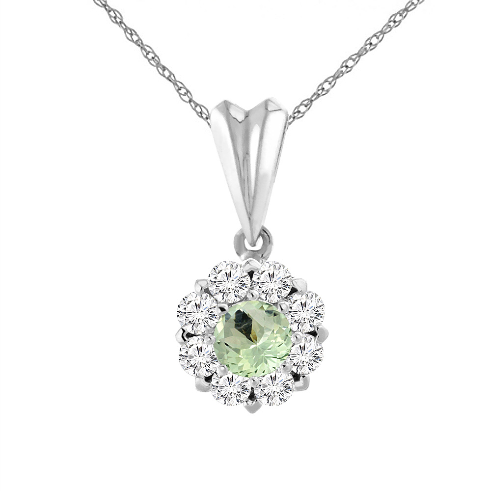 14K White Gold Natural Green Amethyst Necklace with Diamond Halo Round 4 mm