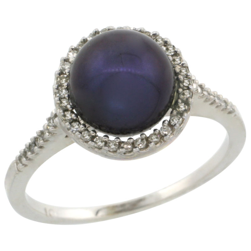 10k White Gold Halo Engagement 8.5 mm Black Pearl Ring w/ 0.146 Carat Brilliant Cut Diamonds, 7/16 in. (11mm) wide