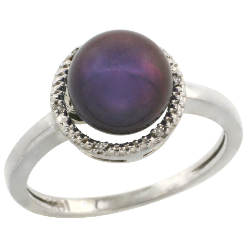 14k White Gold Halo Engagement 8.5 mm Black Pearl Ring w/ 0.022 Carat Brilliant Cut Diamonds, 7/16 in. (11mm) wide