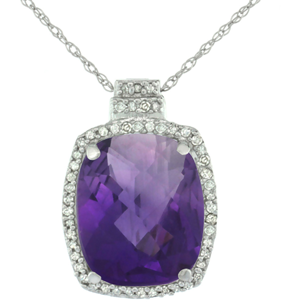10K White Gold Diamond Natural Amethyst Pendant Octagon Cushion 11x9 mm