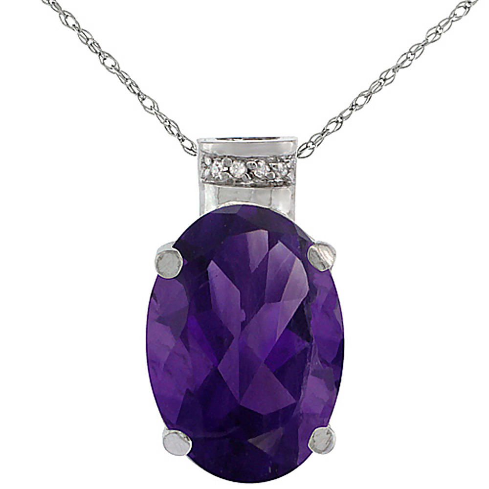 10K White Gold Diamond Natural Amethyst Pendant Oval 14x10 mm