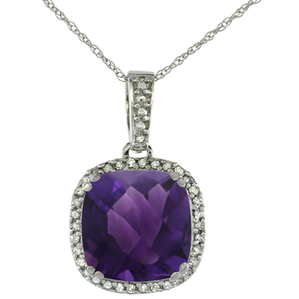 10K White Gold Natural Amethyst Pendant Cushion 10x10 mm & Diamond Accents