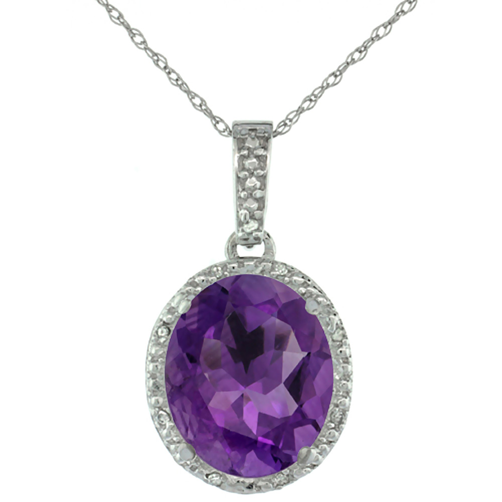 10K White Gold Diamond Halo Natural Amethyst Necklace Oval 12x10 mm, 18 inch long