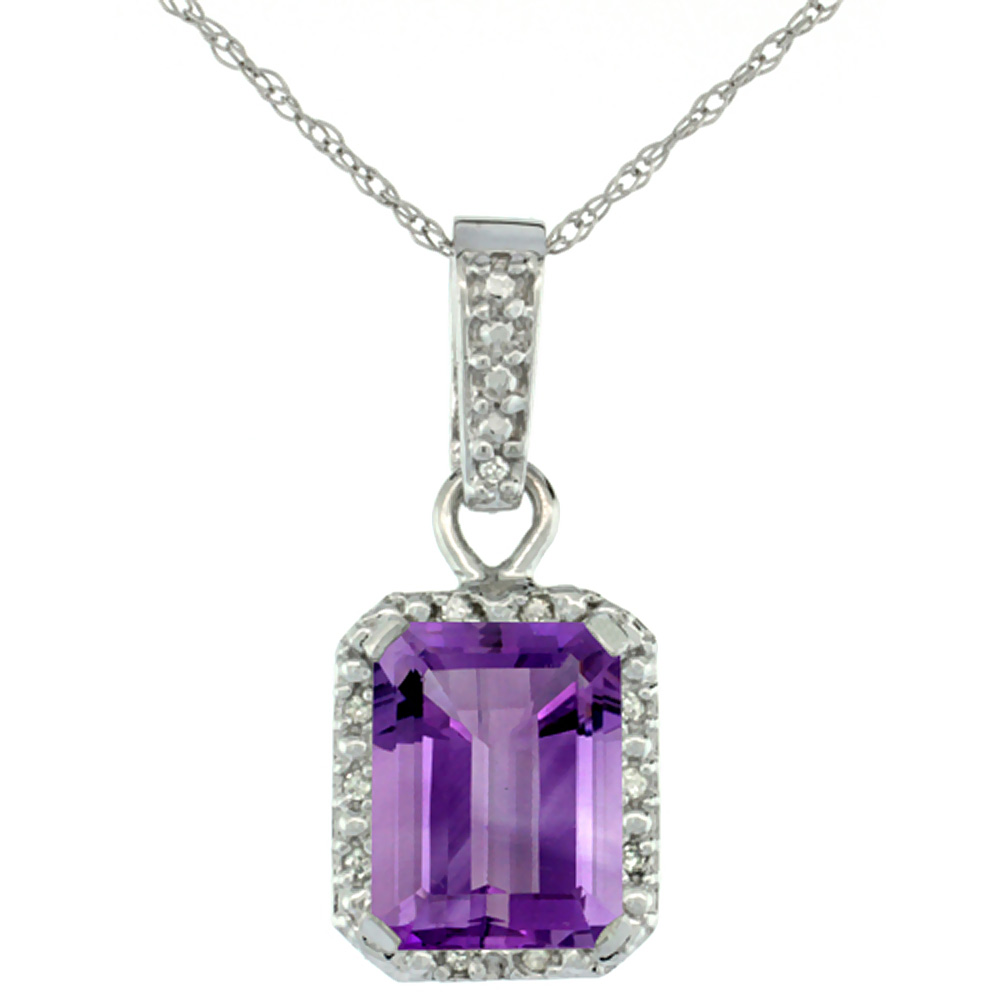 10K White Gold Natural Amethyst Pendant Octagon 8x6 mm & Diamond Accents