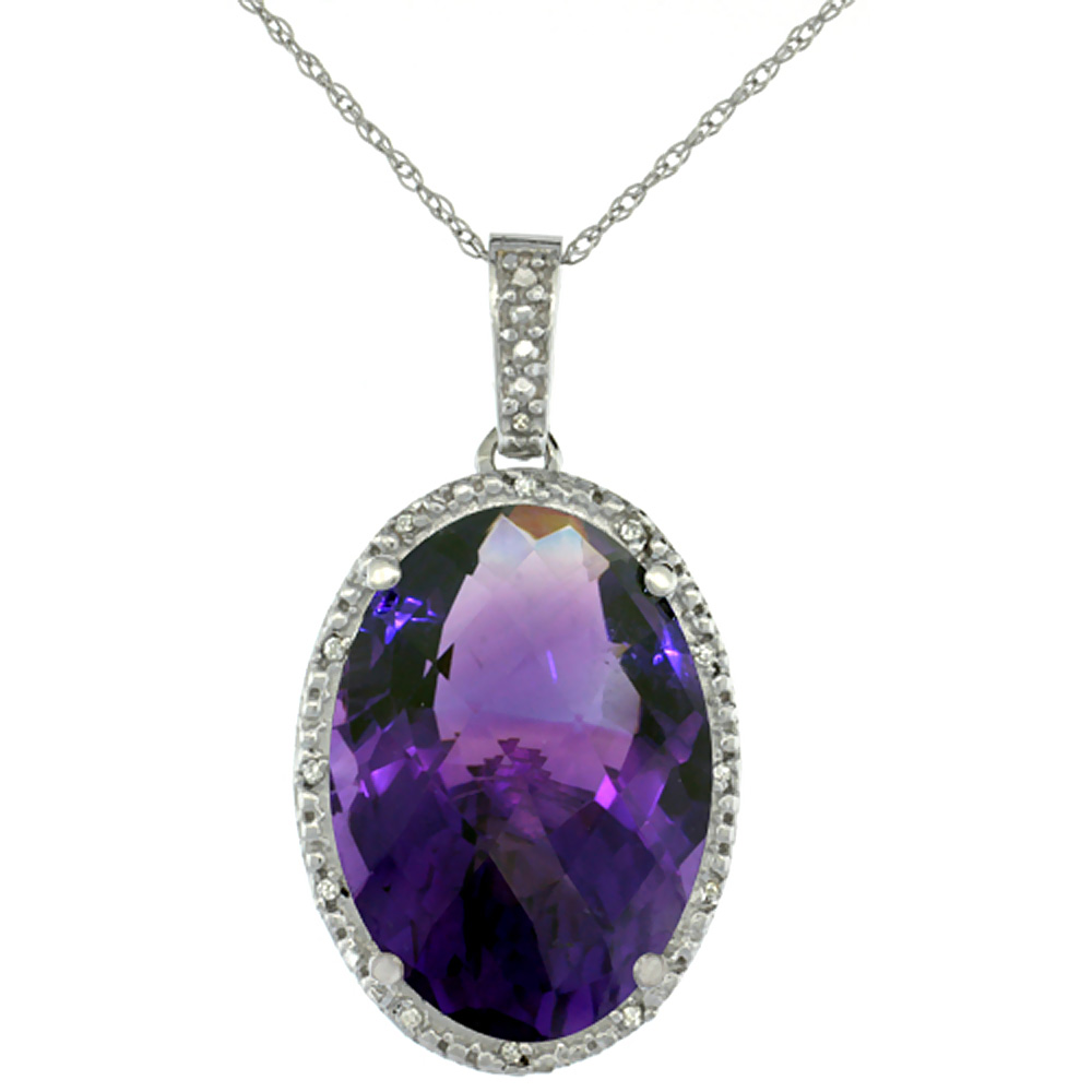 10K White Gold Diamond Natural Amethyst Pendant Oval 18x13 mm