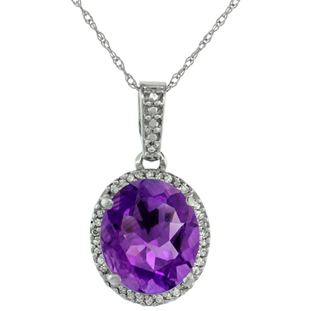 10K White Gold Natural Amethyst Pendant Oval 11x9 mm