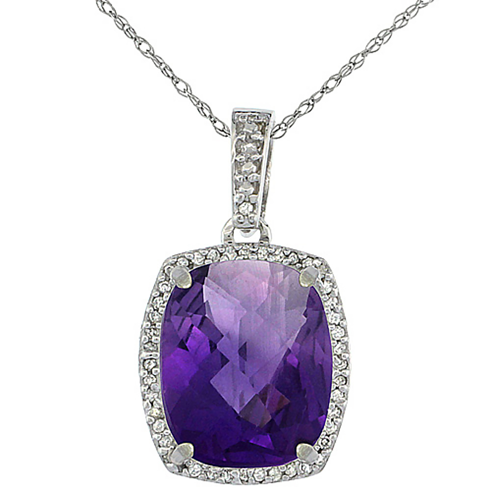 10K White Gold Natural Amethyst Pendant Octagon Cushion 12x10 mm