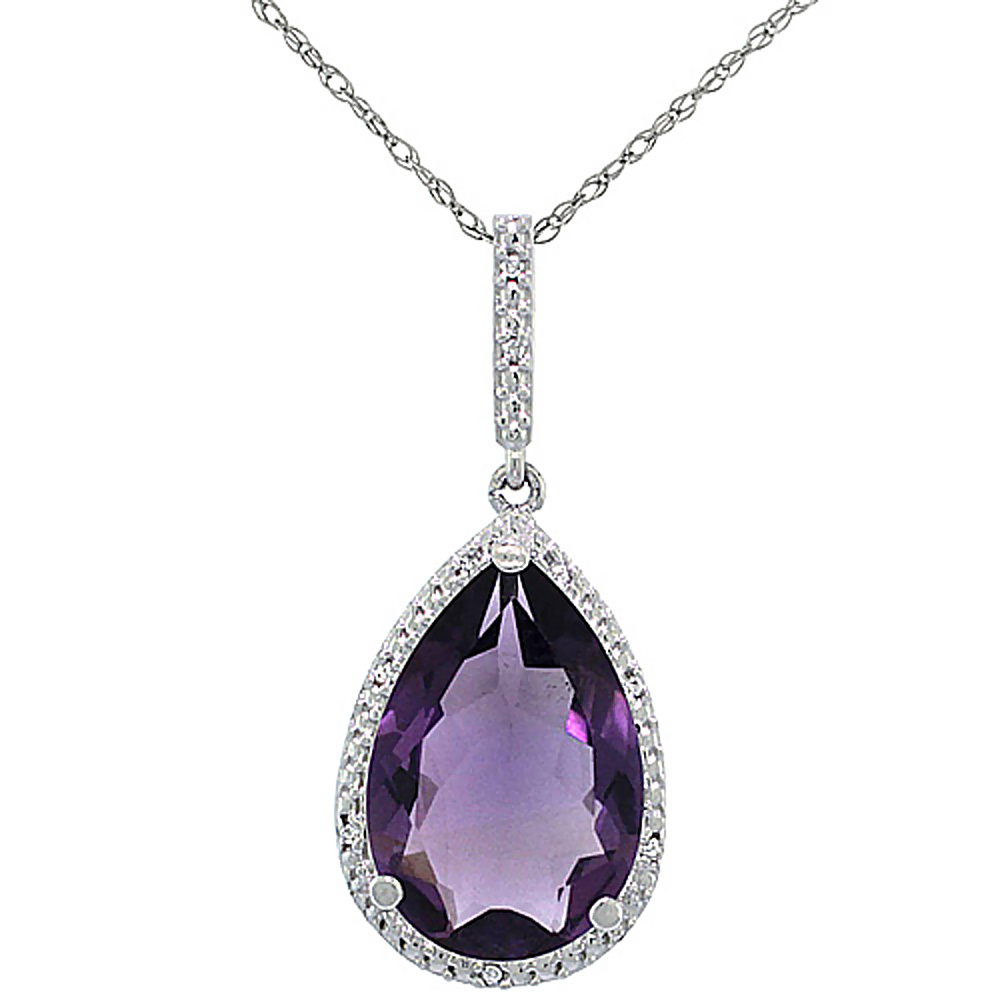 10K White Gold Diamond Halo Natural Amethyst Necklace Pear Shaped 15x10 mm, 18 inch long