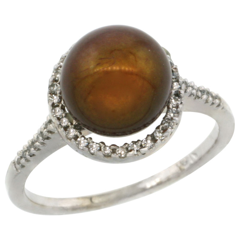 10k White Gold Halo Engagement 8.5 mm Brown Pearl Ring w/ 0.146 Carat Brilliant Cut Diamonds, 7/16 in. (11mm) wide