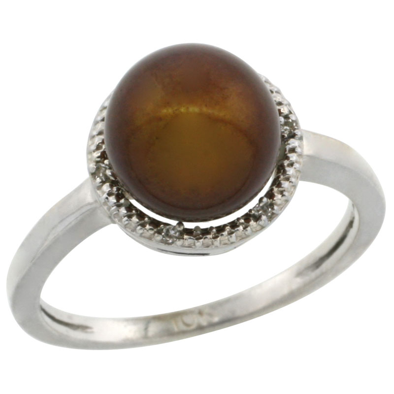 14k White Gold Halo Engagement 8.5 mm Brown Pearl Ring w/ 0.022 Carat Brilliant Cut Diamonds, 7/16 in. (11mm) wide