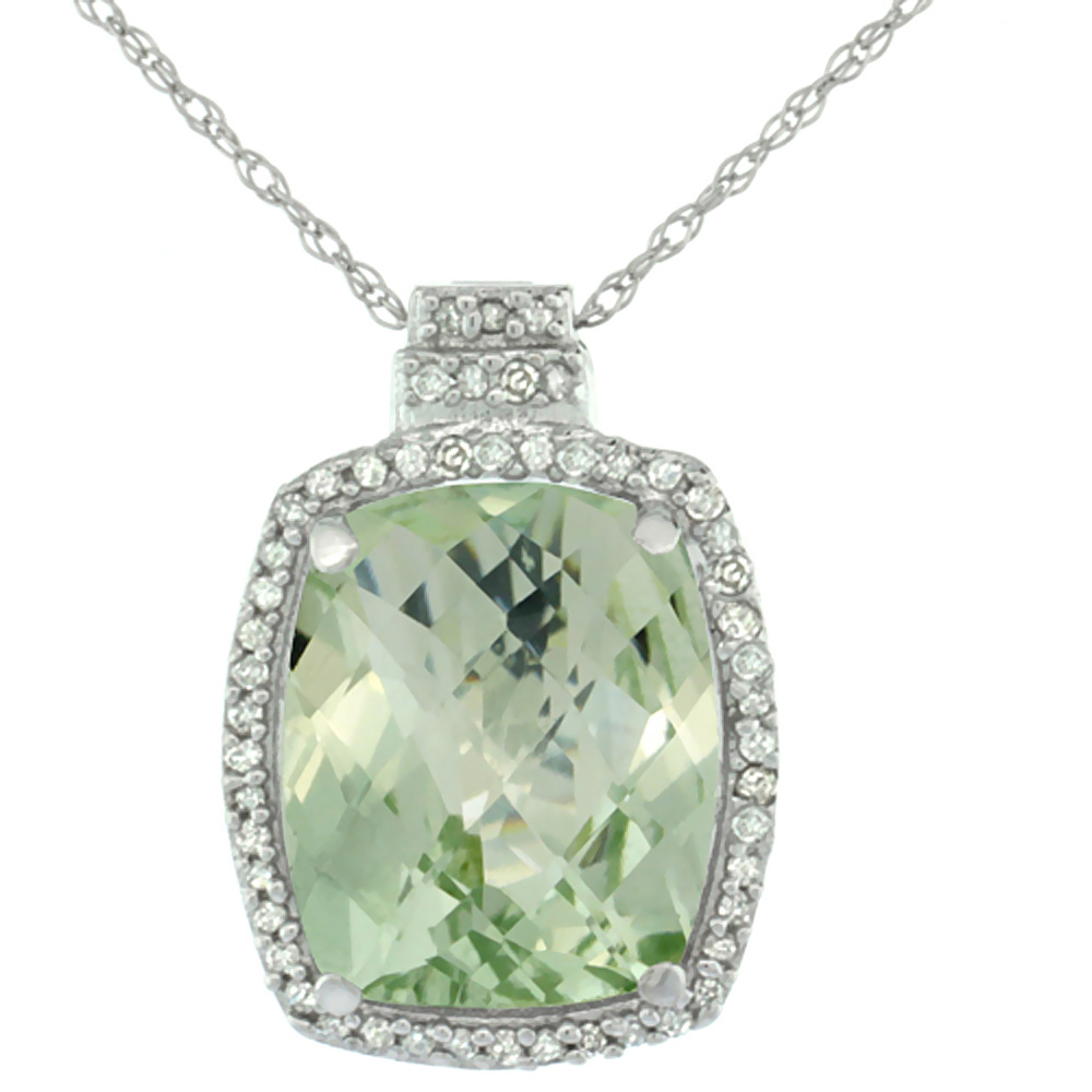 10K White Gold Diamond Natural Green Amethyst Pendant Octagon Cushion 11x9 mm