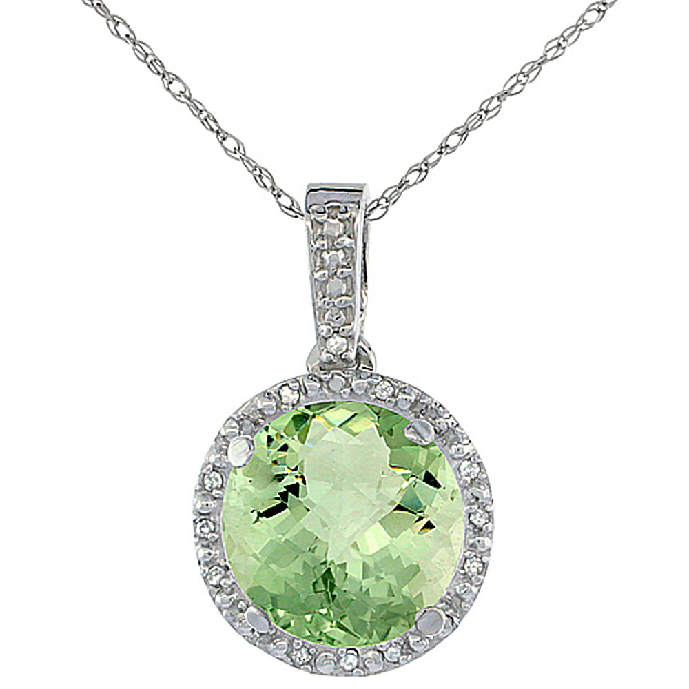 10K White Gold Natural Green Amethyst Pendant Round 11x11 mm & Diamond Accents