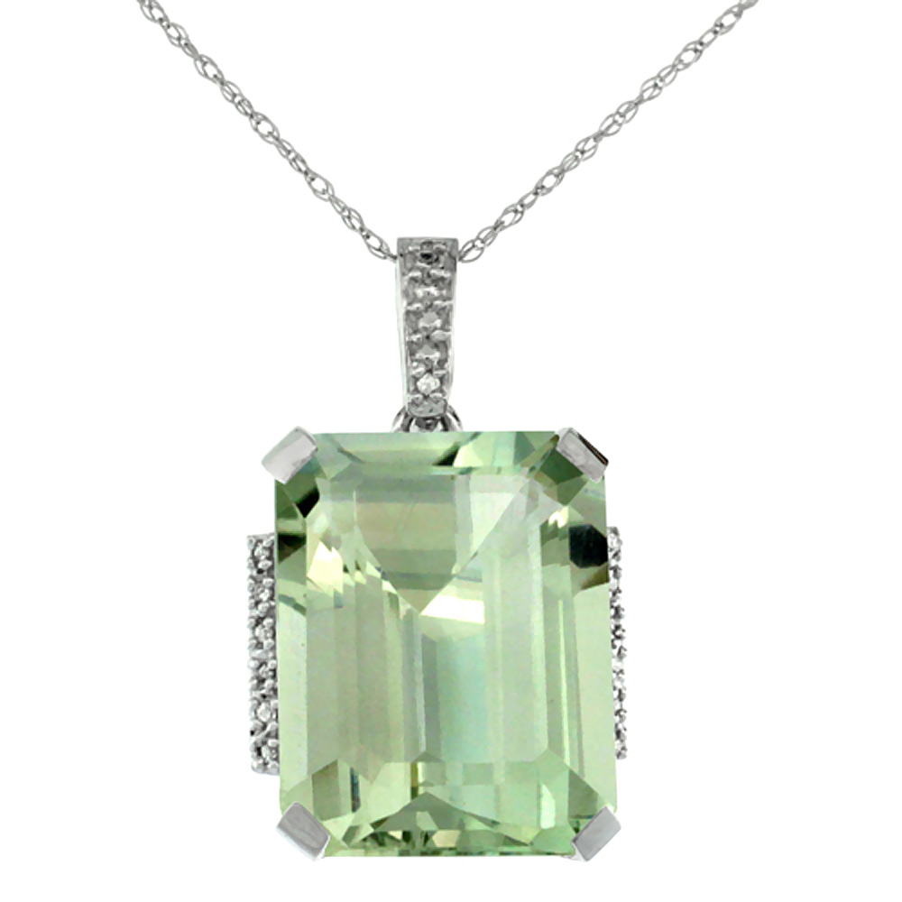 10K White Gold Natural Green Amethyst Pendant Octagon 16x12 mm & Diamond Accents