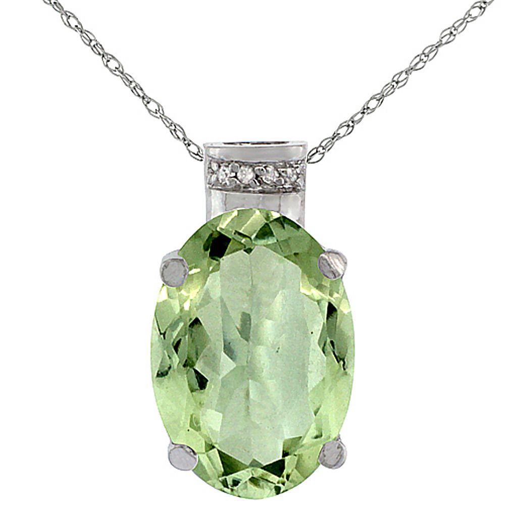 10K White Gold Diamond Natural Green Amethyst Pendant Oval 14x10 mm