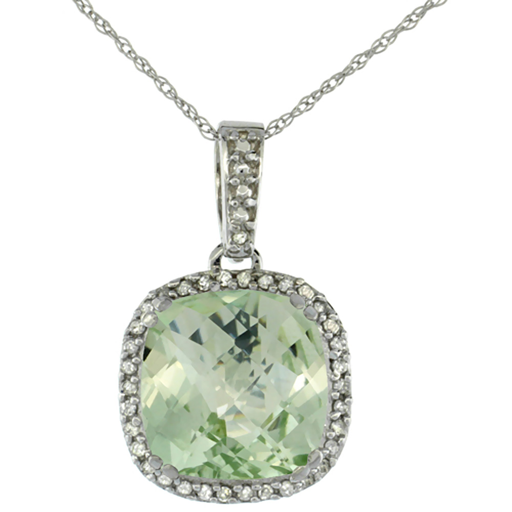10K White Gold Natural Green Amethyst Pendant Cushion 10x10 mm & Diamond Accents