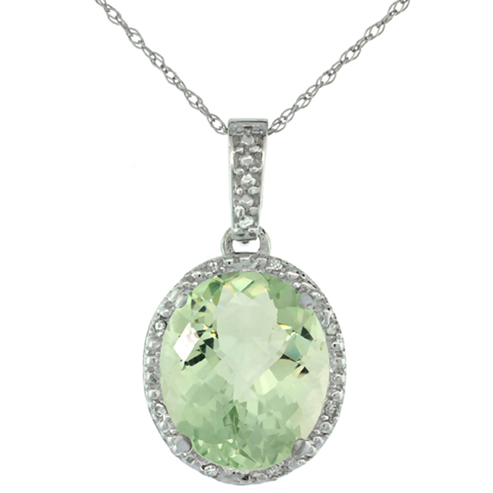 10K White Gold Diamond Halo Natural Green Amethyst Necklace Oval 12x10 mm, 18 inch long
