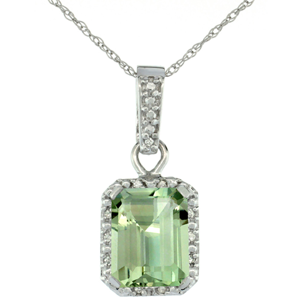 10K White Gold Natural Green Amethyst Pendant Octagon 8x6 mm & Diamond Accents