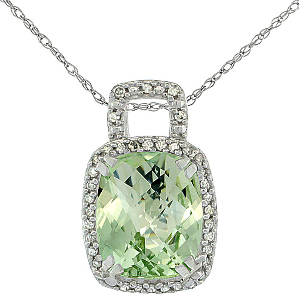10K White Gold Natural Green Amethyst Pendant Octagon Cushion 10x8 mm & Diamond Accents
