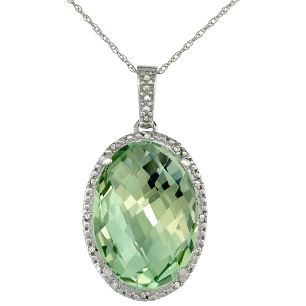 10K White Gold Diamond Natural Green Amethyst Pendant Oval 18x13 mm