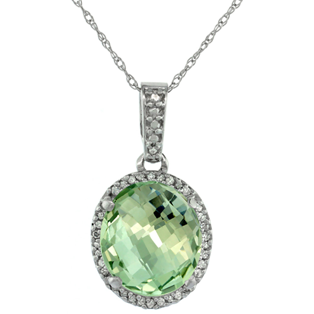 10K White Gold Natural Green Amethyst Pendant Oval 11x9 mm