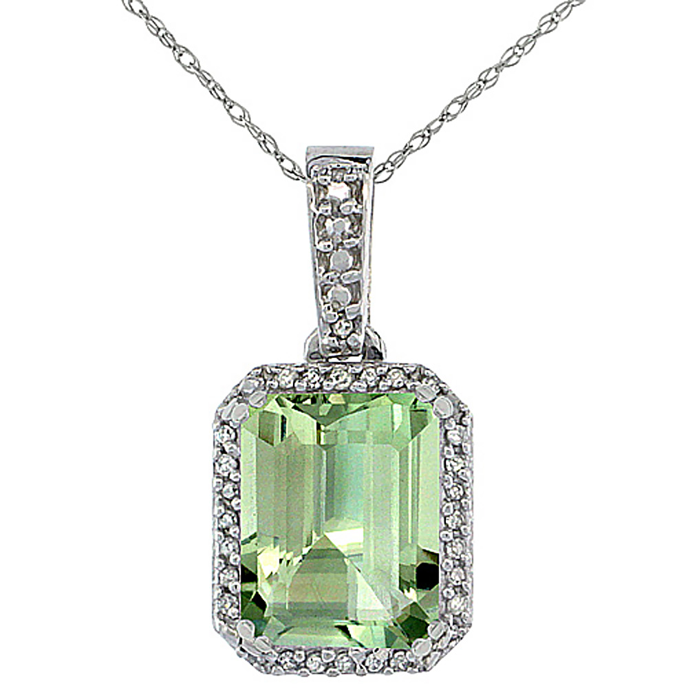 10K White Gold Diamond Natural Green Amethyst Pendant Octagon 9x7 mm