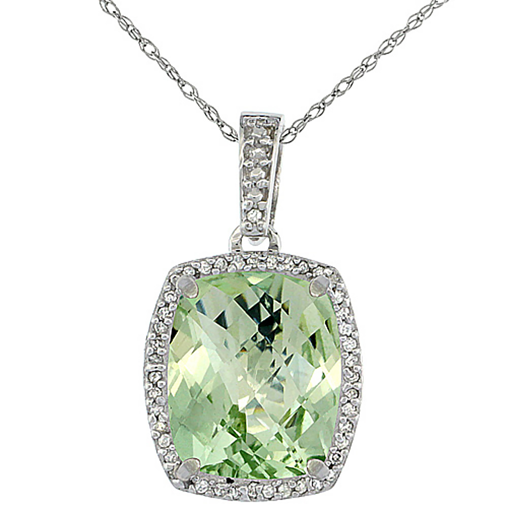 10K White Gold Natural Green Amethyst Pendant Octagon Cushion 12x10 mm